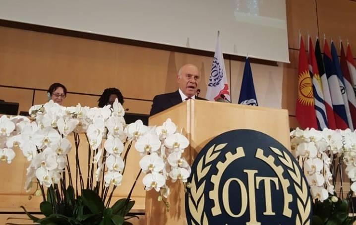 Le ministre libanais du Travail, Camille Abousleiman, lors de la 108ème session de la Conférence internationale du Travail à Genève, le 13 juin 2019. Photo Ani