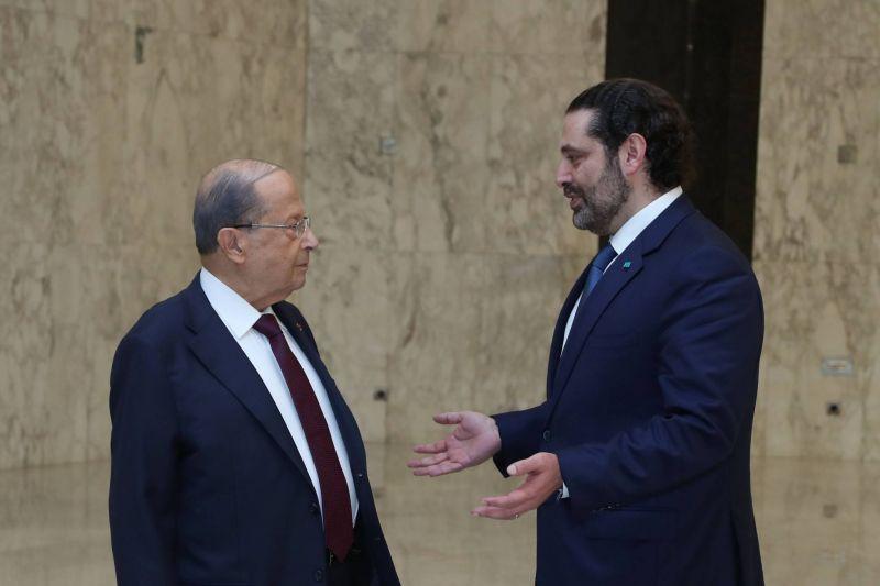 Le Premier ministre, Saad Hariri (d), s'est réuni avec le président Michel Aoun à Baabda, le 12 juin 2019. Photo Dalati et Nohra