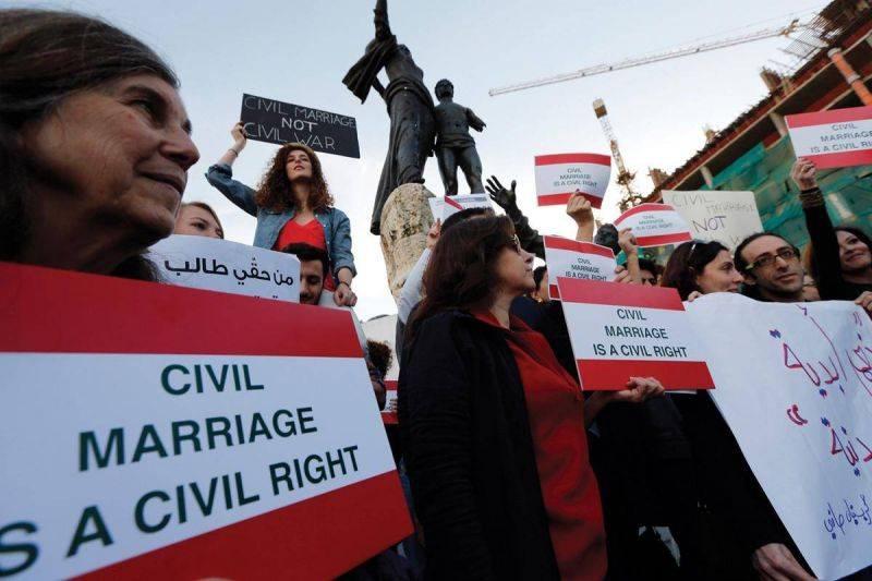 Des Libanais manifestant en 2013 à Beyrouth en faveur du mariage civil. Photo Reuters/Jamal Saïdi