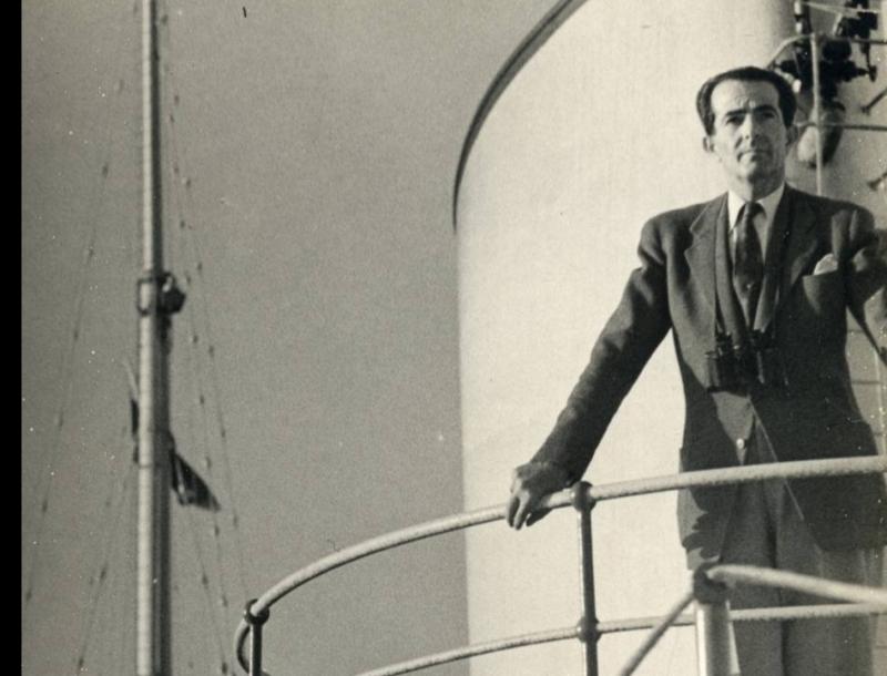 Georges Arida sur l'aviso Grille, 1948. Copyright Philip Arida