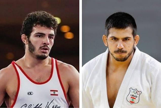 Le lutteur libanais Domenic Abounader et le judoka libanais Nacif Elias. Photos Wikipedia