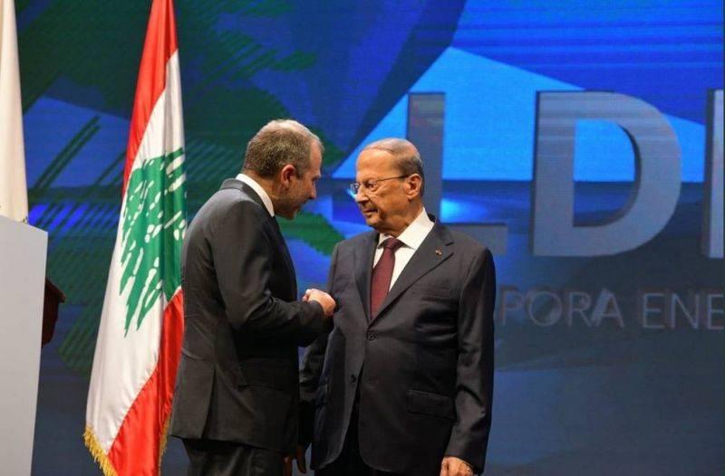 Le président libanais Michel Aoun (d) et le chef de la diplomatie Gebran Bassil à l'ouverture de la conférence Lebanese Diaspora Energy (LDE), vendredi 7 juin 2019. Photo tirée du compte Twitter de M. Bassil